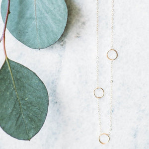Little Light Necklace - Five Off-Center Circle Dainty Necklace