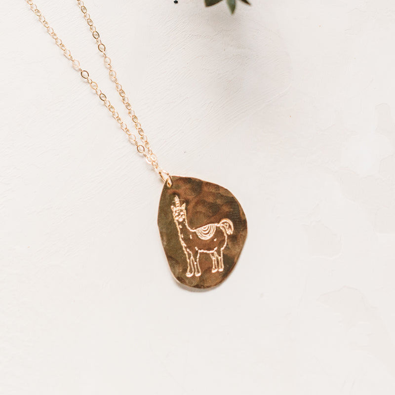 Llamacorn Necklace - 14k Gold Filled and Sterling Silver