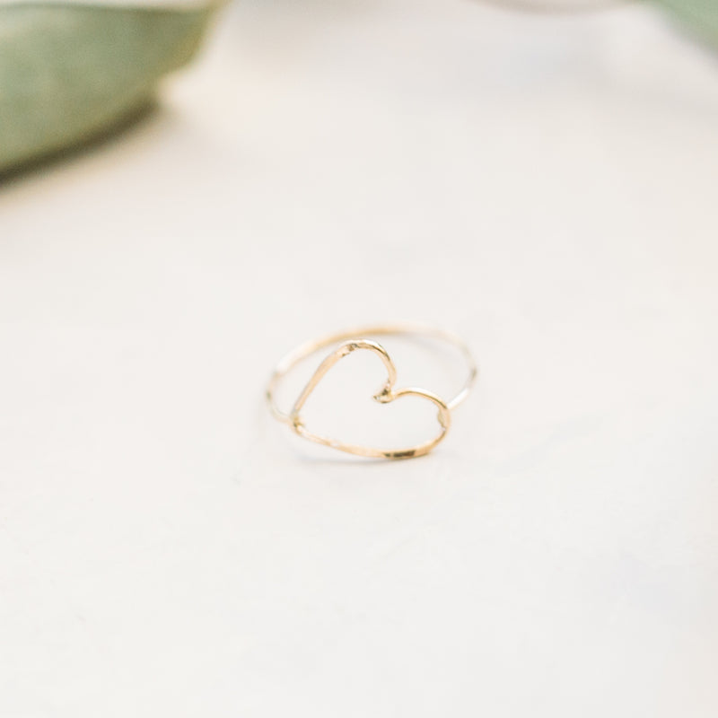 Open Sideways Heart Ring - Gold and Silver