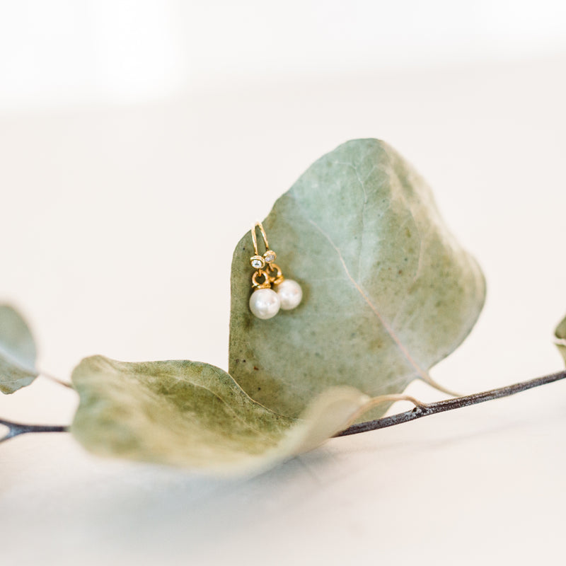 New Beginnings - Pearl Drop Earrings w/ CZ Accent