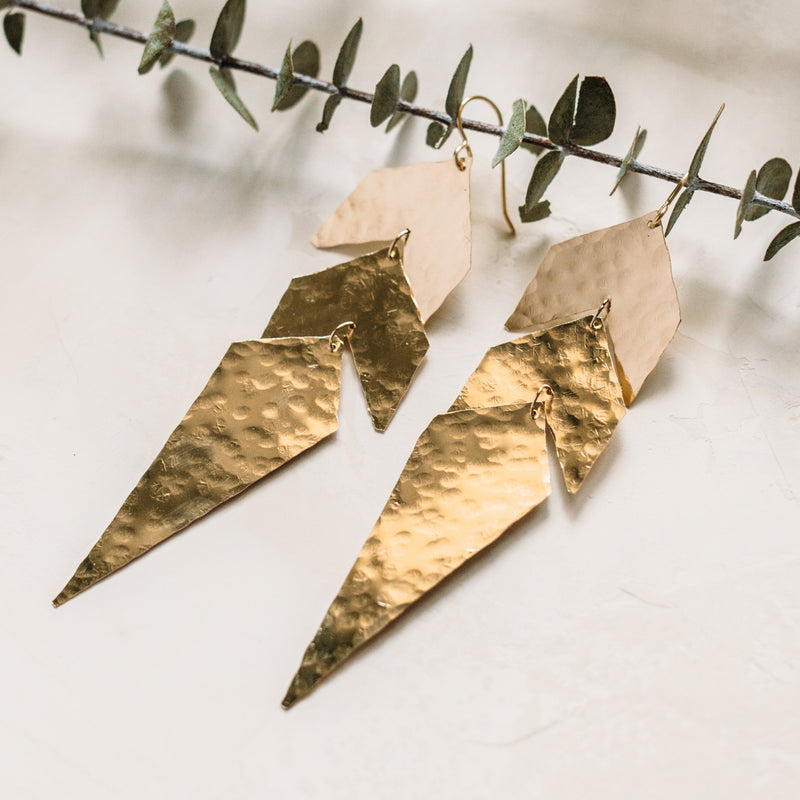 Rocket Fuel - Chevron Dagger Long Hammered Dangle Earrings