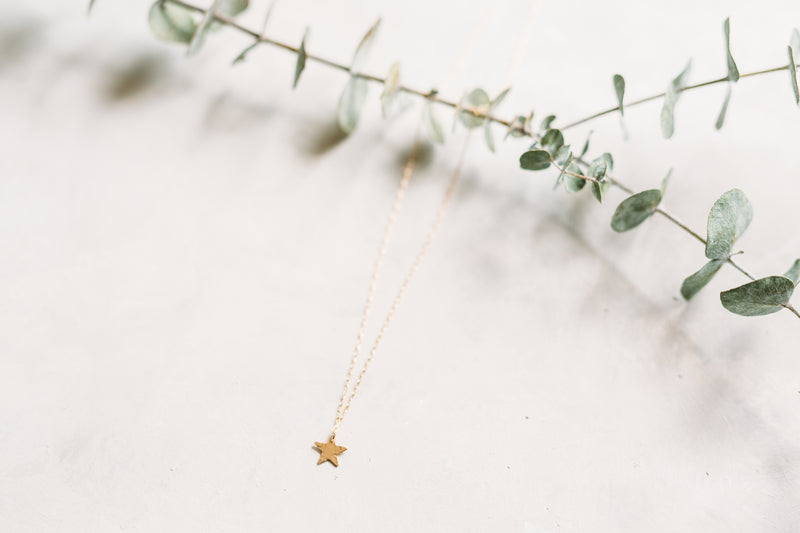 Textured Star Charm Necklace - Single Star Drop