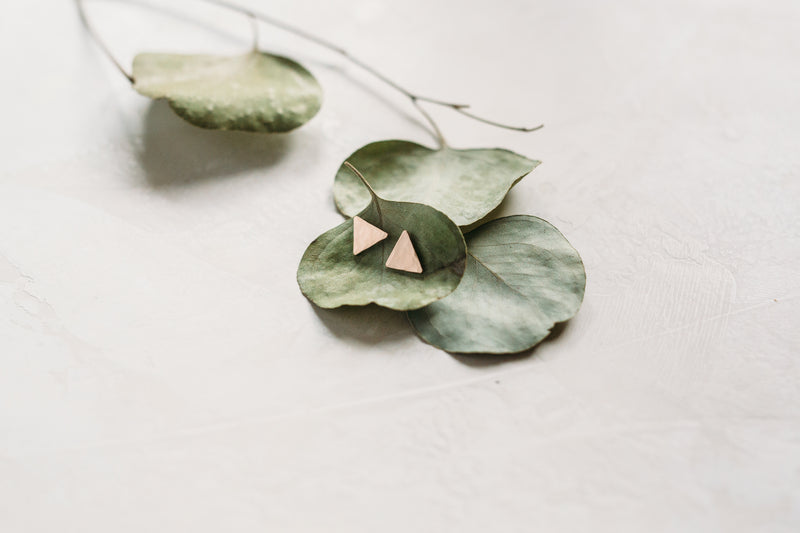 Triangle Stud Hammered Earrings - 14k Gold and Sterling Silver