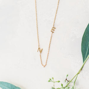 Personalized Mini Initial Letter Necklace - Part Of The Chain