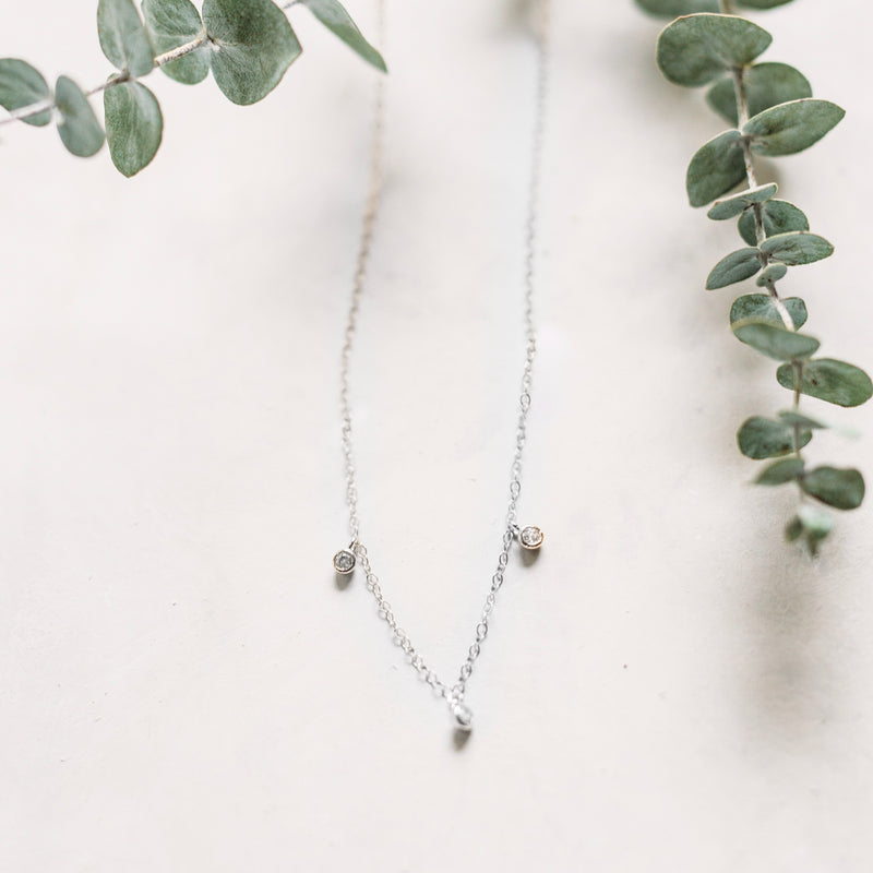 Diamond Trio Drop Necklace