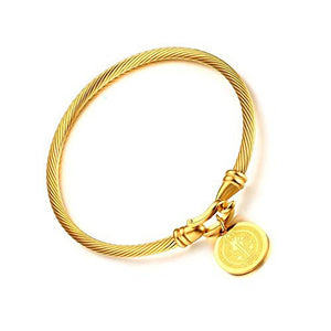 Saint Benedict Medal Bracelet (Bangle) 100% Authentic GOLD. It will never FADE