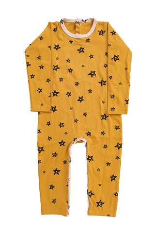 Honey Star Patchwork Longsleeve Romper