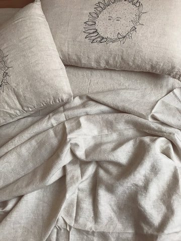 French Linen Sunflower Pillowcase