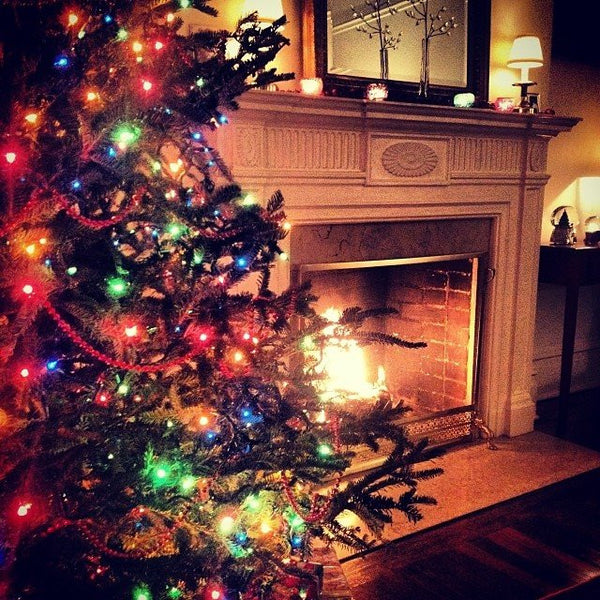 Christmas Tree with Colored Lights and Fireplace