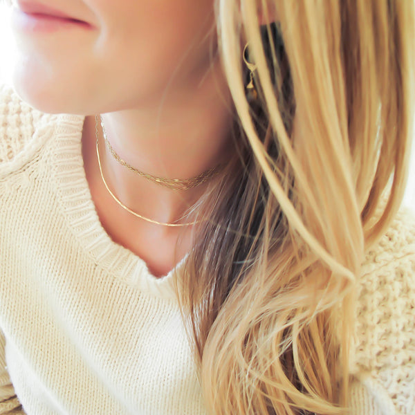 Layered Jewelry 14k Gold Fill XL Scenic Route Layered with Double Wrapped Choker Necklace by Delia Langan Jewelry