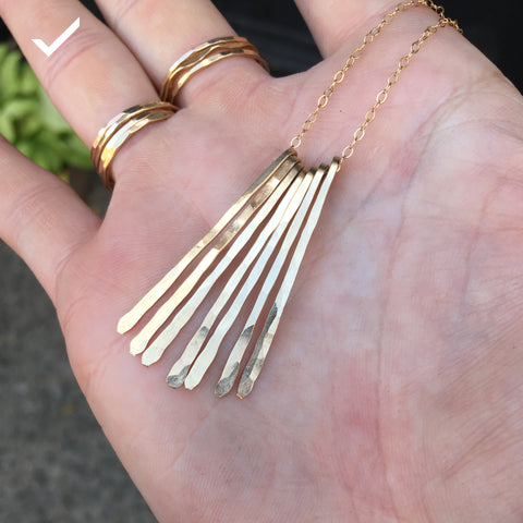 xl different strokes long gold fringe necklace by delia langan jewelry
