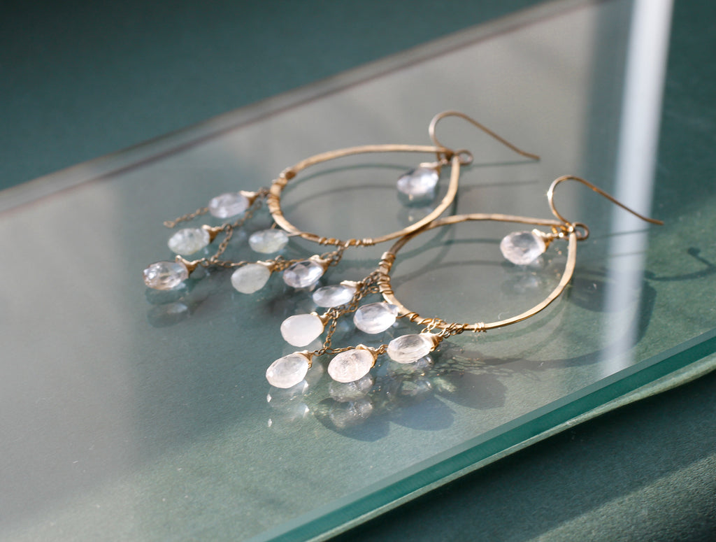 aquamarine cascade earrings by delia langan jewelry