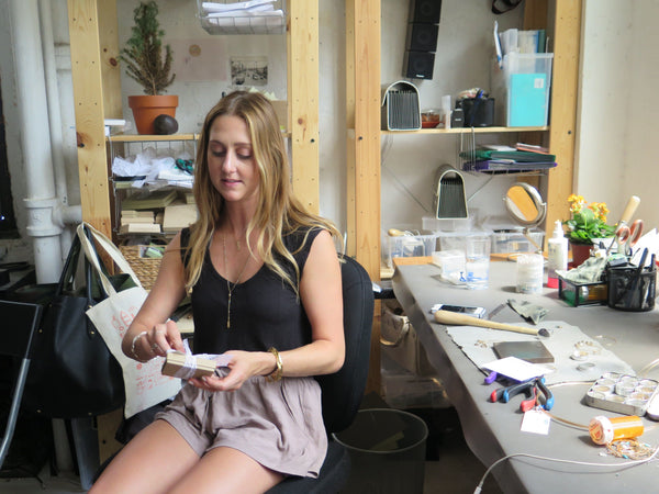 Delia Langan During Etsy Seller Visit at her Jewelry Workbench in Brooklyn