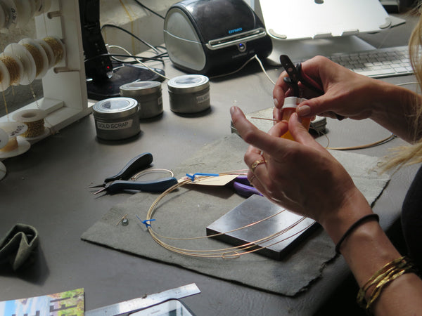 Delia Langan Hand Making Jewelry in her Brooklyn Studio
