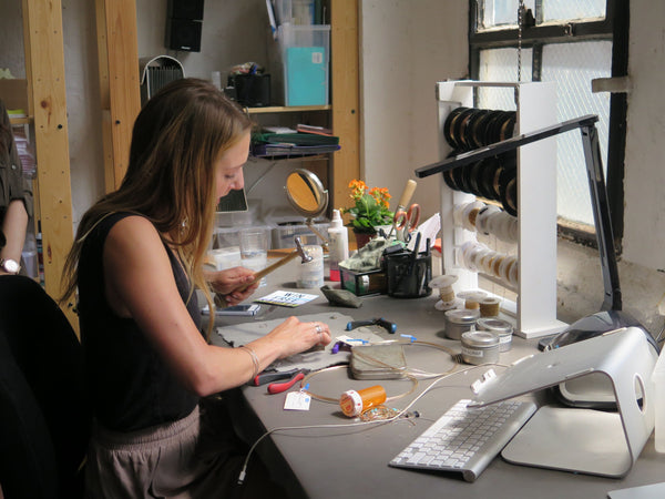 Delia Langan at her Jewelry Workbench in Brooklyn