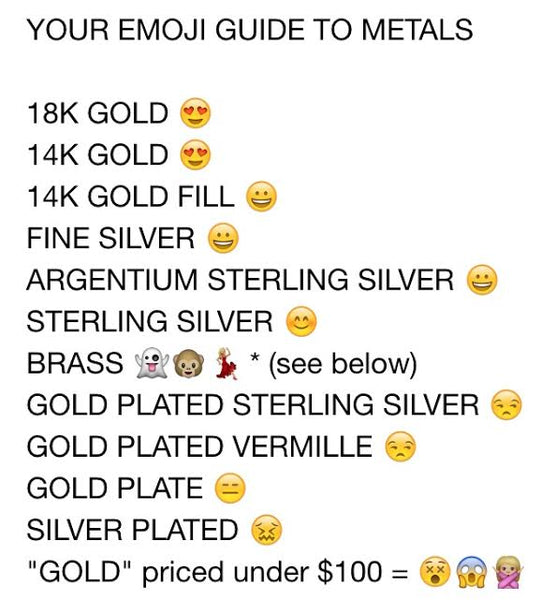 emoji guide to understanding metals blog post by delia langan jewelry