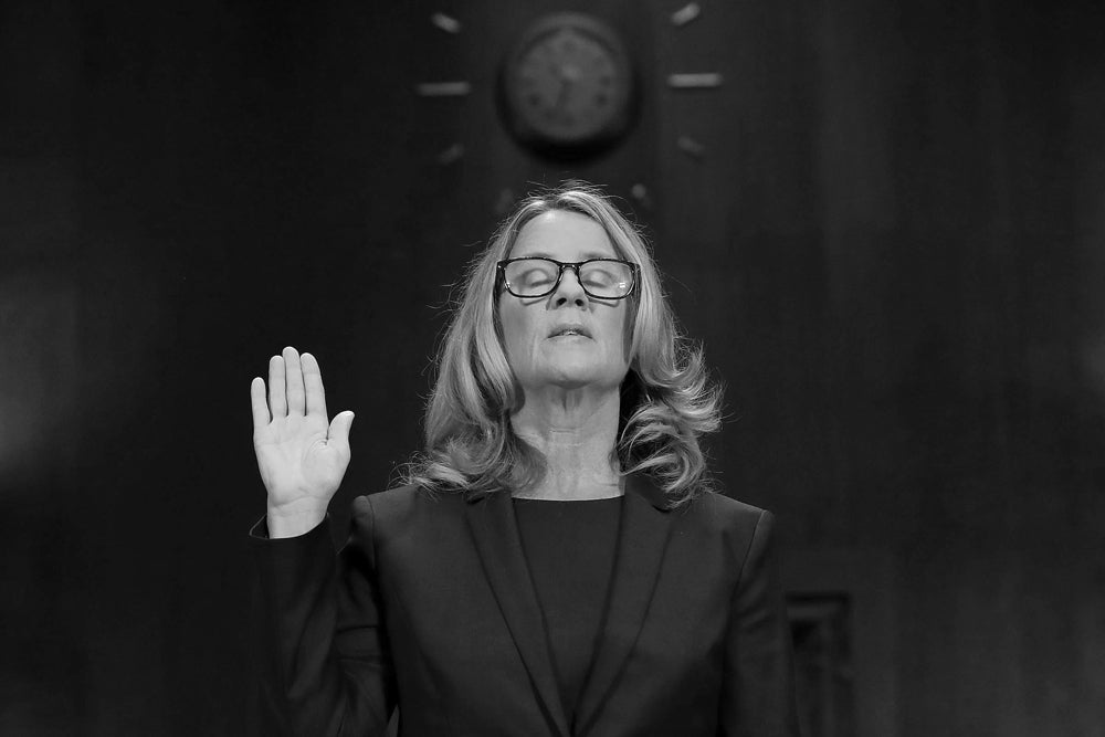 black and white christine blasey ford testifying