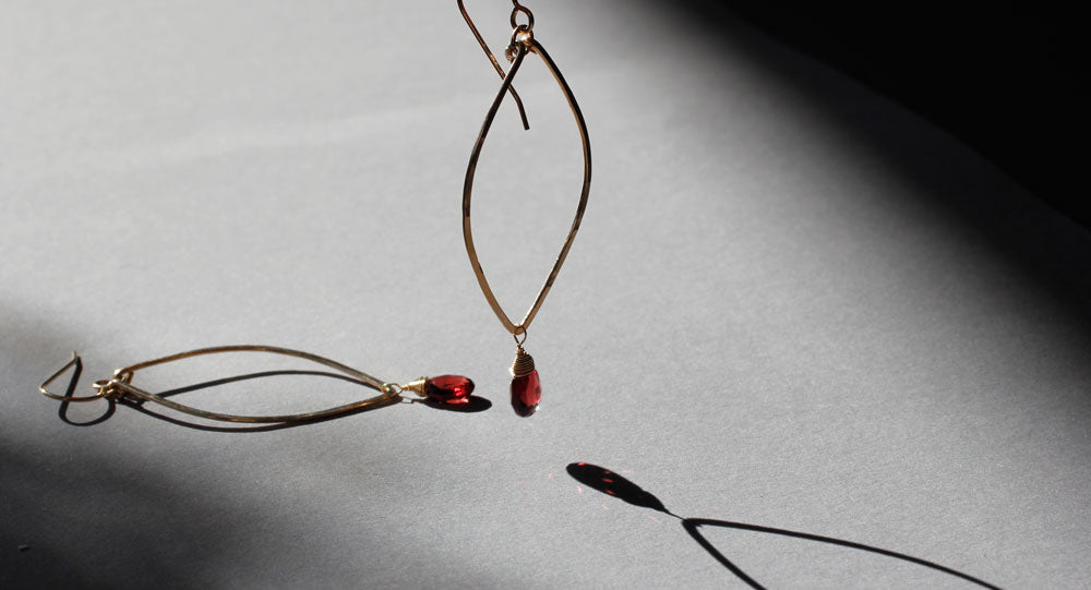garnet earrings by delia langan jewelry
