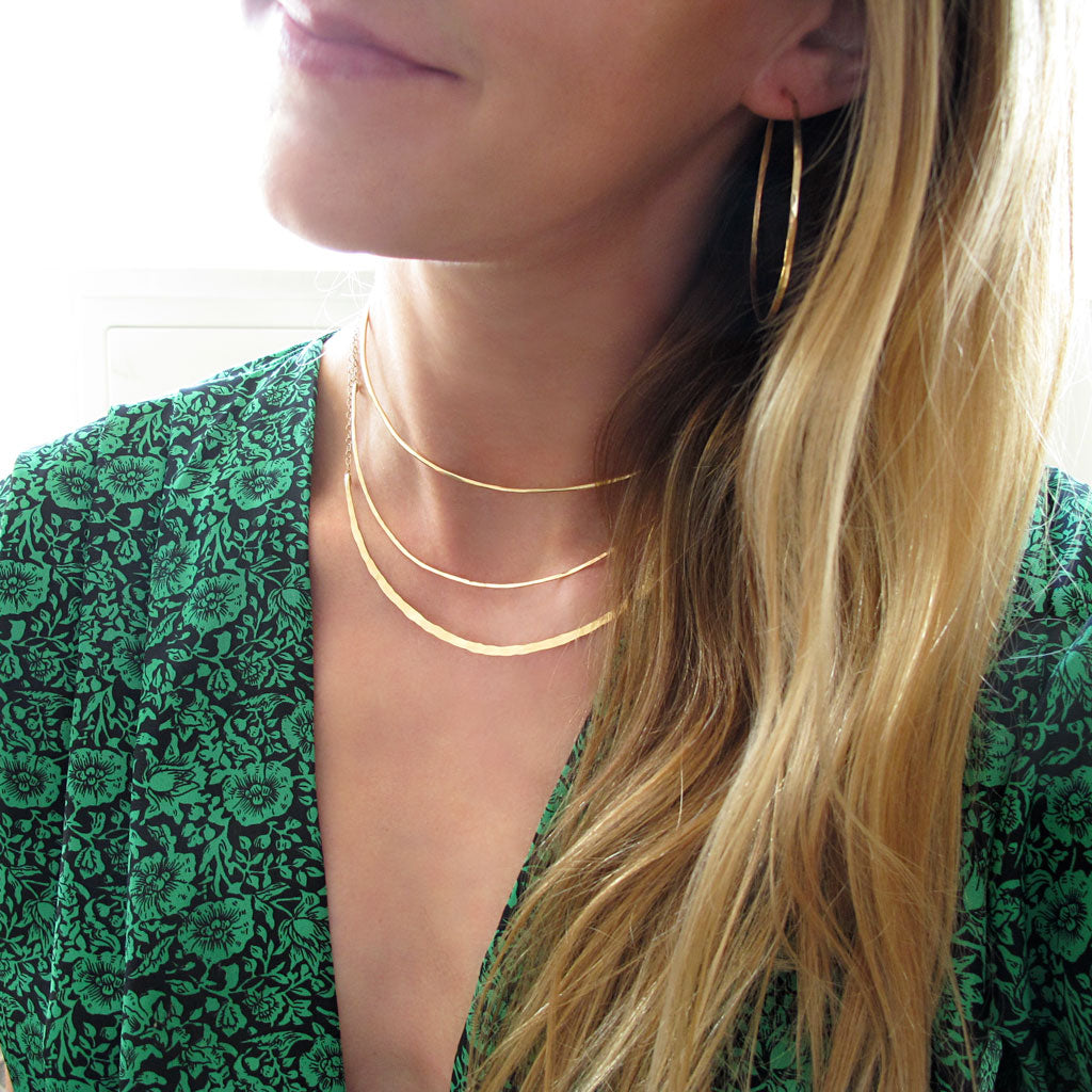 Layered gold choker necklaces by delia langan jewelry