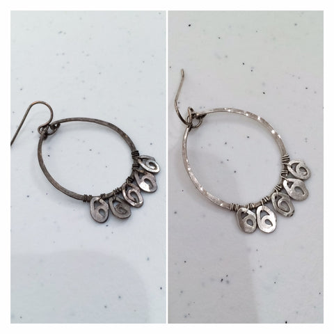 before and after photo of tarnished silver jewelry that has been cleaned