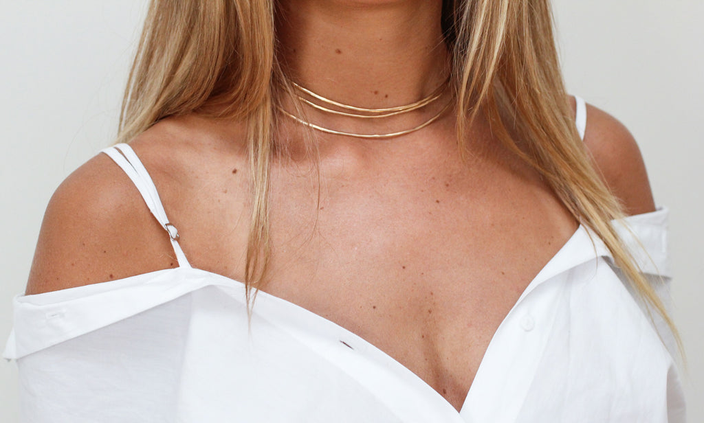 14k gold filled halo choker collar by delia langan jewelry