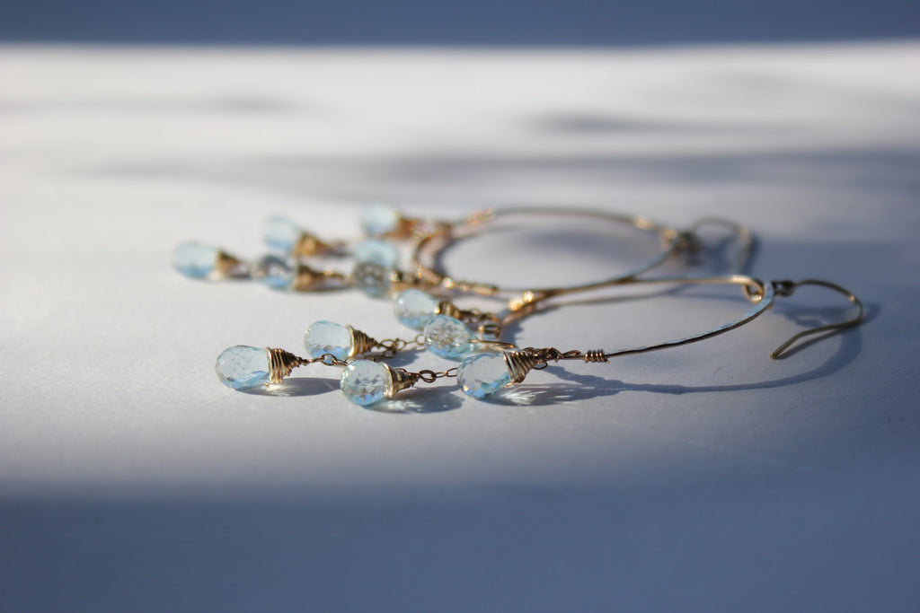 blue topaz cascade earrings handmade by delia langan jewelry