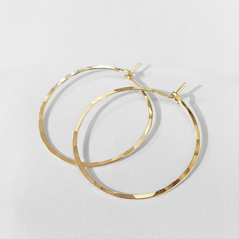 "1"" diameter thin gold hoop earrings"