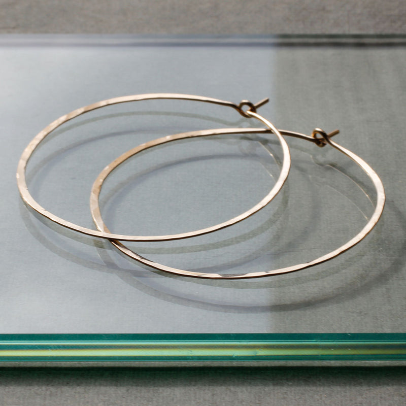 large gold thin hoops