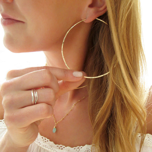 "delicate thin gold 3"" inch endless hoop earrings"