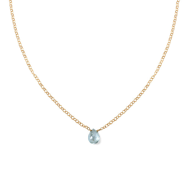Short Gemstone Necklace - Blue Aquamarine