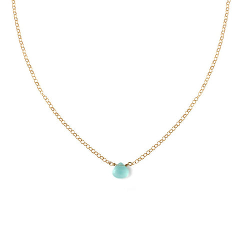dainty blue chalcedony pendant on delicate gold chain