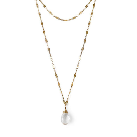 crystal quartz choker wrap necklace in gold