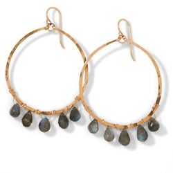 14k gold filled labradorite fringe multi gemstone earrings on white surface