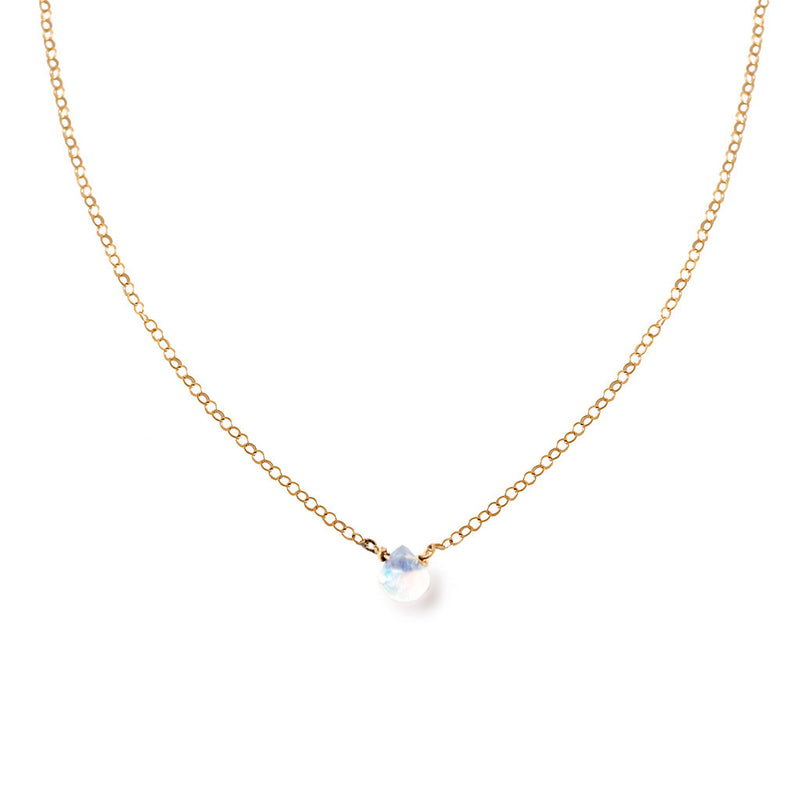 14k gold filled moonstone short gemstone necklace on a white surface