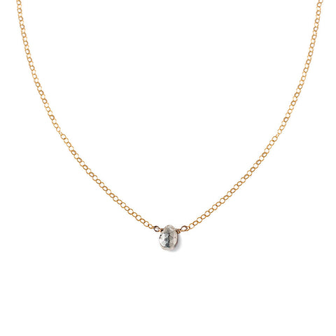 small silver pyrite gemstone necklace on delicate gold chain by delia langan jewelry