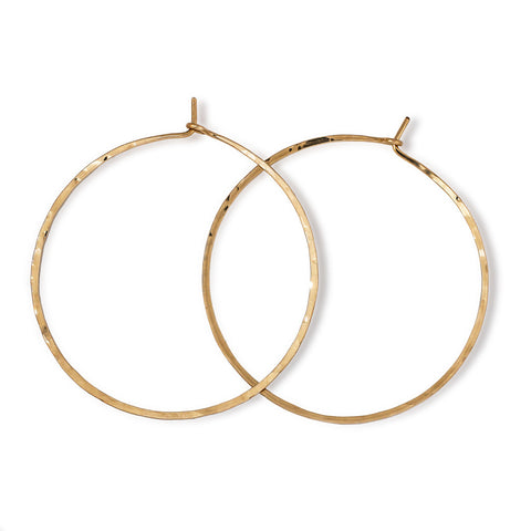Straight Through Thin Hoop Earrings 2""