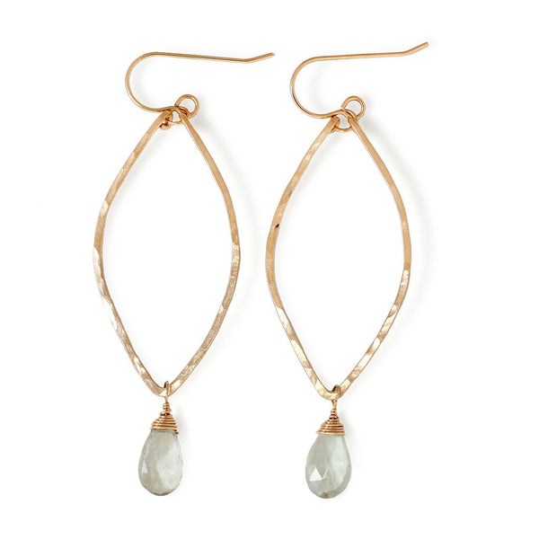 green amethyst and gold leaf shaped earrings by delia langan jewelry