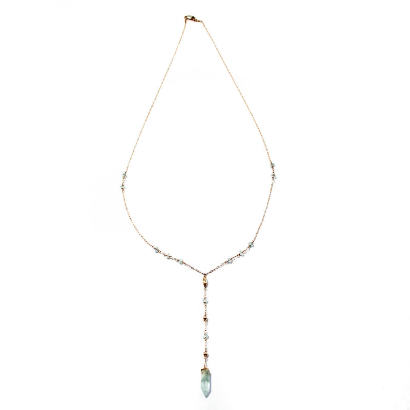 Y Gemstone Necklace - Aquamarine