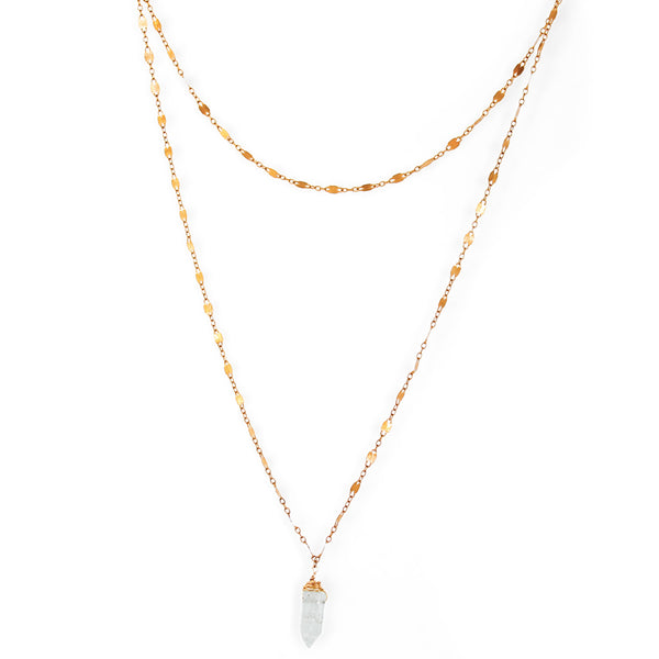 aquamarine pointe crystal necklace on gold chain by delia langan jewelry