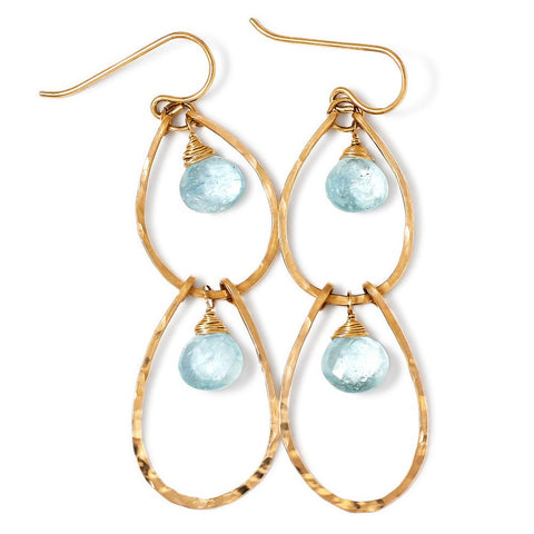 gold and blue aquamarine earrings by delia langan jewelry