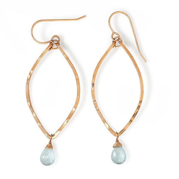 blue aquamarine and gold leaf shaped earrings by delia langan jewelry