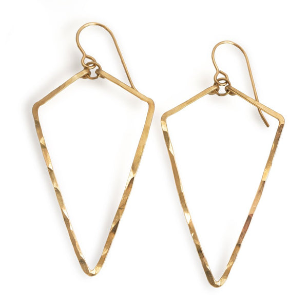 14k gold filled arrowhead hoop earrings on a white surface
