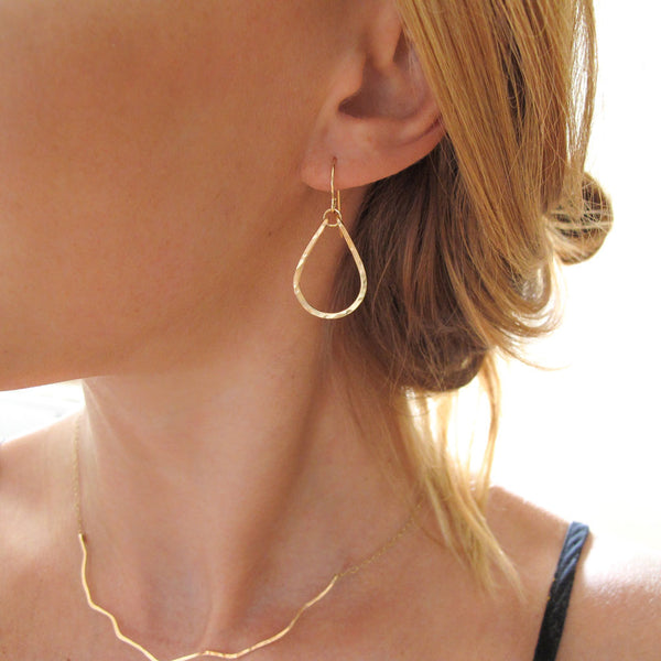 small gold teardrop hoop earrings