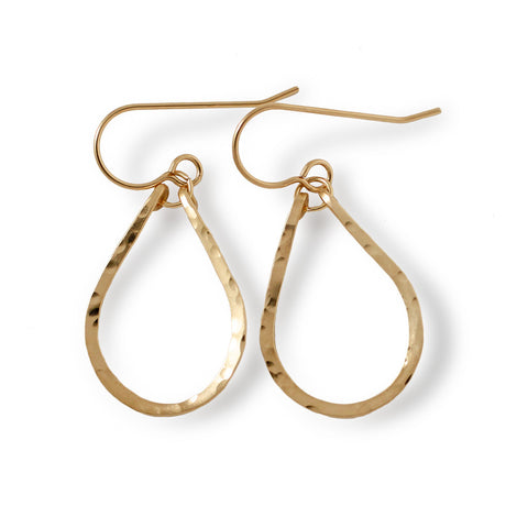 small tiny gold teardrop drop earrings by delia langan jewelry