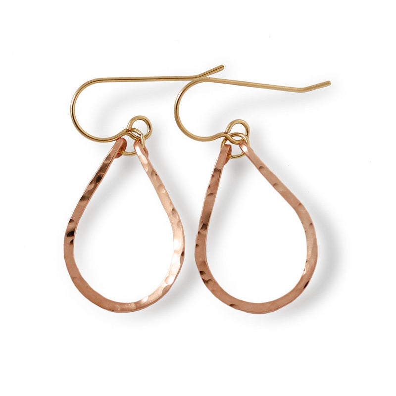 small tiny rose gold teardrop drop earrings by delia langan jewelry