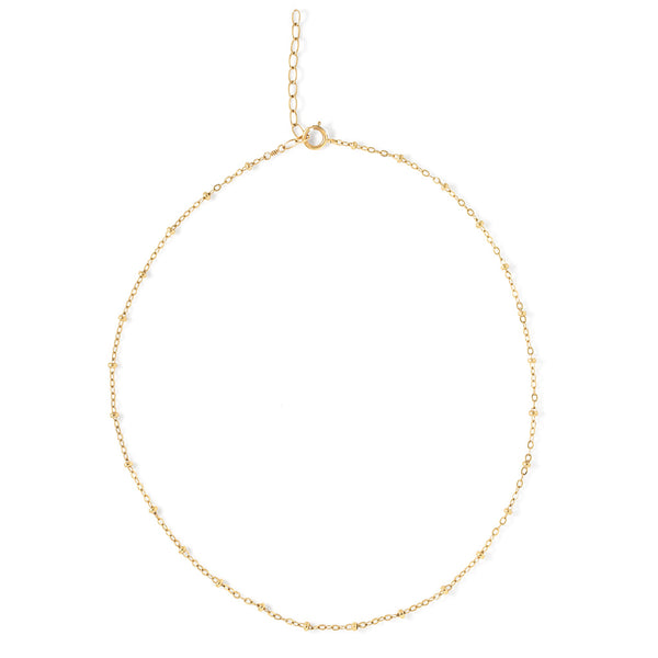 delicate ball chain gold choker necklace