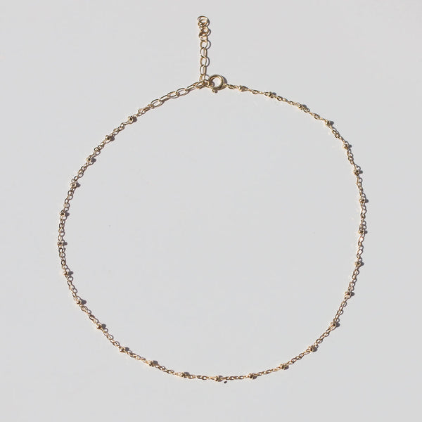 delicate gold ball chain choker necklace