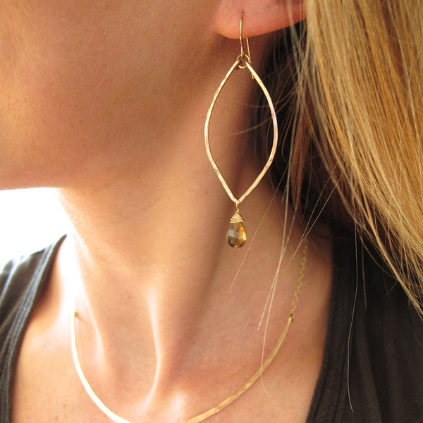 beer quartz and gold long drop earrings