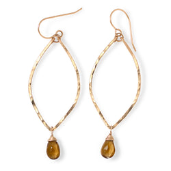 beer quartz and 14k gold filled leaf shaped earrings