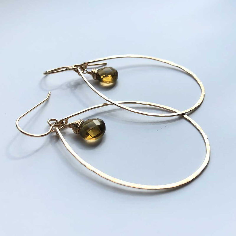 Beer Quartz Teardrop Earrings